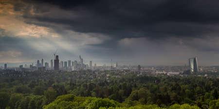 lightbeam: Thunderstorm over the city of Frankfurt am Main, Hessen, Germany Stock Photo