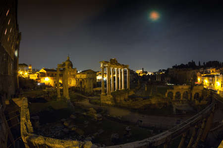 ''wide angle'': Full moon at the Forum Romanum - Wide Angle version, Rome, Italy Stock Photo