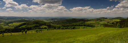 hessen: Panorama of the Rhoen low mountain range as seen from the top of Weiherberg, Hessen, Germany