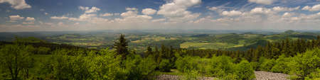 hessen: Panorama of the Rhoen low mountain range as seen from the top of Wasserkuppe, Hessen, Germany Stock Photo