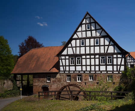hessen: Half timbered water mill, Buedingen, Wetterau, Hessen, Germany