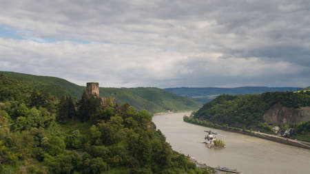 hessen: Panorama of the Rhine valley near Kaub, Hessen, Germany Stock Photo