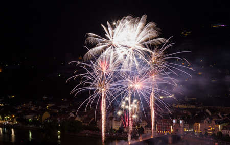 heidelberg: Firework at the old bridge of Heidelberg, Germany Stock Photo