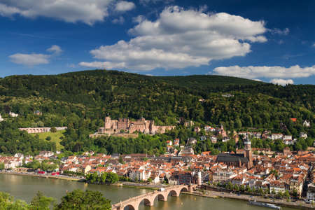 Panorama of Heidelberg with the ruin of the red castle, Germany Editorial