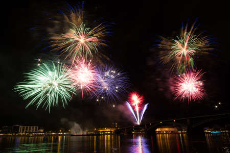 MAINZ: Colorful firework over the rhine river, Mainz, Germany