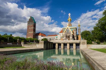 hessen: Mathildenhoehe Darmstadt, Hochzeitsturm and Russina chapel, Hessen, Germany
