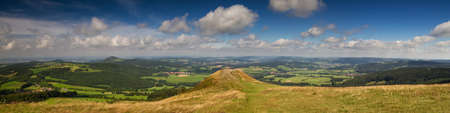 hessen: Panorama of the Rhoen low mountain range as seen from the top of Abtsrodaer Kuppe, Hessen, Germany Stock Photo