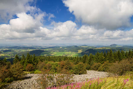hessen: Viewpoint Wasserkuppe of the Rhoen low mountain range in summer, Hessen, Germany Stock Photo