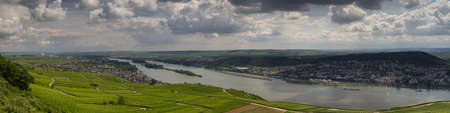hessen: Panorama of the city of Ruedesheim from viewpoint Niederwalddenkmal, Hessen, Germany