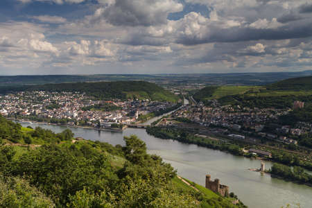 Lookout Rossel - Viewpoint of the Rhine Valley, Ruedesheim, Germany Editorial