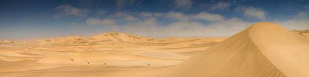 Panorama of yellow sand dunes near Swakopmund, Namibia