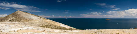 Panorama of Lake Titicaca as seen from Isla del Sol, Bolivia Stock Photo