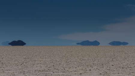 fata morgana: Mirage of mountains at Salar de Uyuni, Bolivia Stock Photo