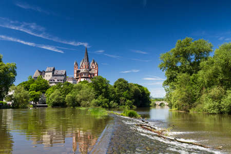 Panorama of the cathedral and castle of Limburg above the river Lahn, Hesse, Germany