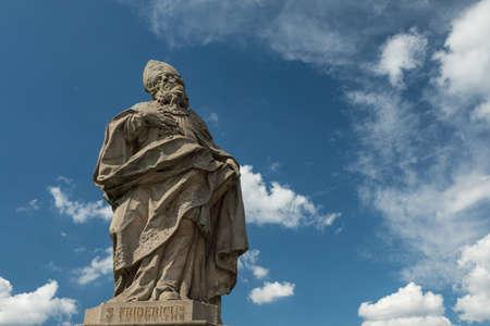 Medieval statue of a bishop on the old Main bridge, Wuerzburg, Bavaria, Germany