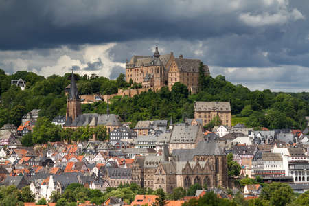View towards the castle of Marburg, Hesse, Germany