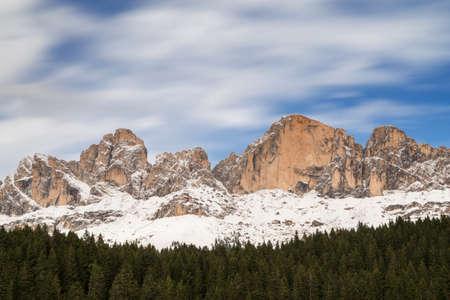 Viewpoint towards the Rosengarten mountain range, South Tyrol, Italy Stock Photo