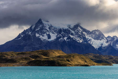 Turquoise waters of Lake Pehoe, Patagonia, Chile