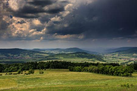 Viewpoint Ellenbogen over the Rhoen low mountain range, Hesse, Germany