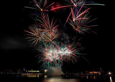 Firework over the rhine river, Mainz, Germany
