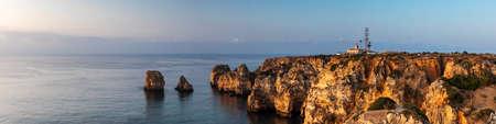 Panorama of Ponta da Piedade in the morning light, Lagos, Algarve, Portugal Stock Photo