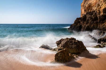 Waves at Praia de Albandeira, Lagoa, Algarve, Portugal Stock Photo