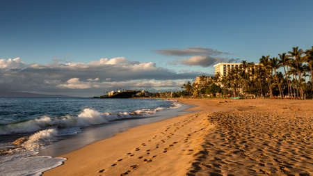 Kaanapali beach in the evening light, Maui, Hawaii