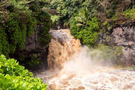 Flash flood at the Seven Sacred Pools Maui, Hawaii