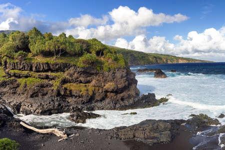 Black sand beack on Maui, Hawaii