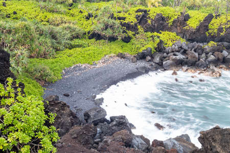 Black sand beack on Maui, Hawaii
