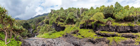 Panorama of the beautiful Seven Sacred Pools near Hana, Maui, Hawaii
