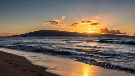Sunset at Kaanapali beach, Maui, Hawaii