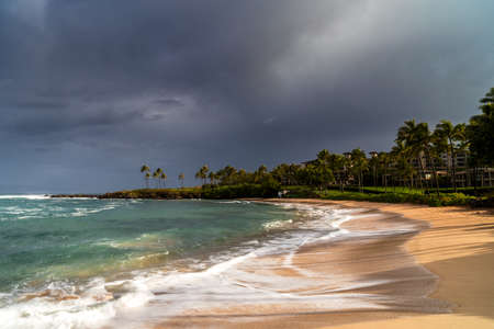 Dark clouds over Kapalua Bay, Maui, Hawaii, United States