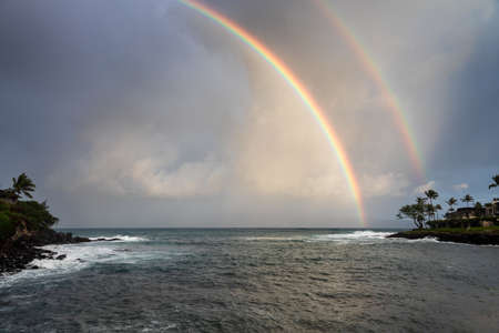 Rainbow at Honokeana Bay, Maui, Hawaii