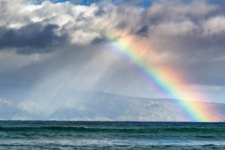 Rainbow over the island of Molokai, Hawaii