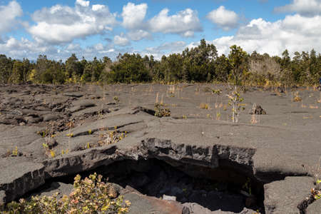 Panorama of the Mauna Ulu lava field, Hawaii, United States