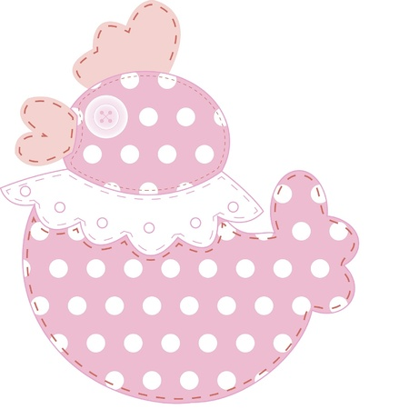 stitchery: Funny applique duck in pink and polka dots for baby books, scrapbooks and albums isolated on white background