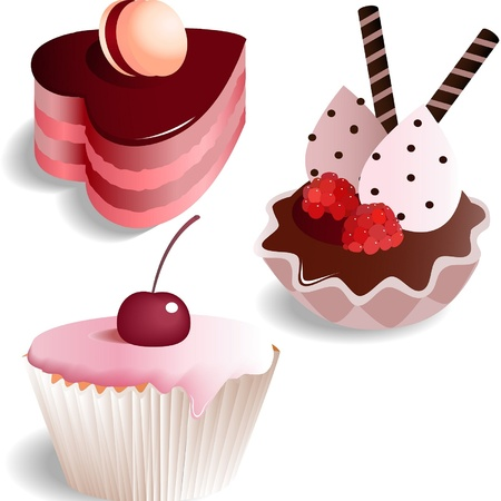 Set with 3 vector cakes, isolated on white background Vector