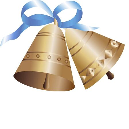 Two bells with blue bow isolated on white background