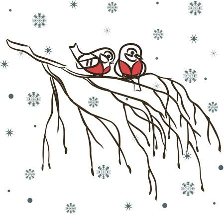 Las aves de invierno en rama y los copos de nieve Vectores