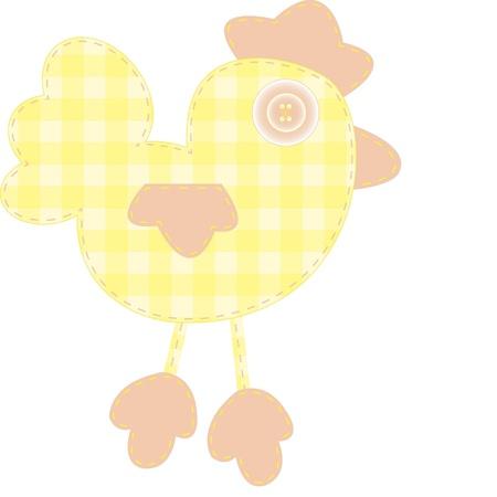 Bebek kitap, albümler ve albüm için komik aplike sarı yavru horoz beyaz zemin üzerine izole