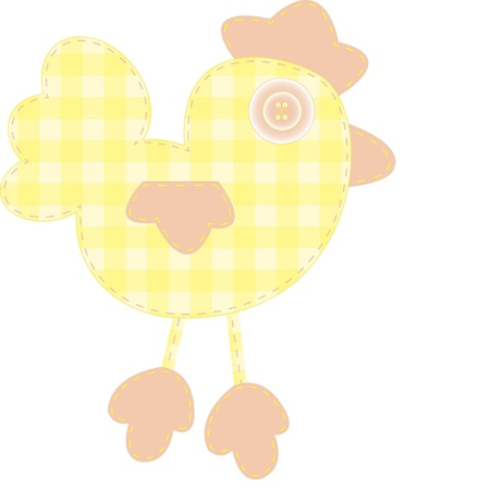 Funny applique yellow cockerel for baby books, scrapbooks and albums isolated on white background Illustration