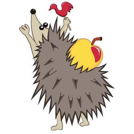 cartoon hedgehog: Hedgehog with apple and candy on a stick  Vector illustration Illustration