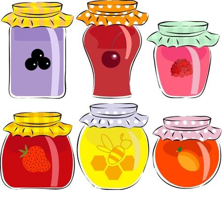 tarros de mermelada y miel aislados sobre fondo blanco Vectores