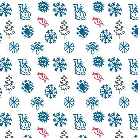 Invierno sin fisuras con los copos de nieve, �rboles, p�jaros e mu�ecos de nieve Vectores