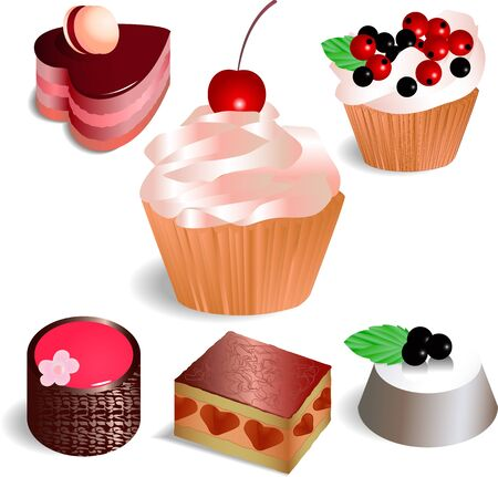 Set with 6 cakes, isolated on white background Stock Vector - 17170971