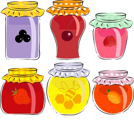 jars of jam and honey isolated on white background Stock Vector - 17170975