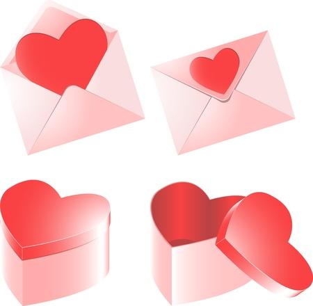 Sobre con el coraz�n rojo para el d�a de San Valent�n en el fondo blanco
