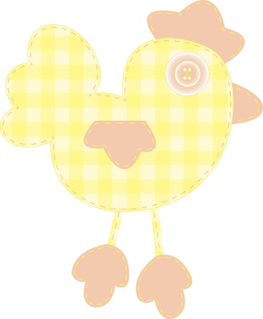stitchery: Funny applique yellow cockerel for baby books, scrapbooks and albums isolated on white background Illustration