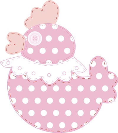 Funny applique duck in pink and polka dots for baby books, scrapbooks and albums isolated on white background